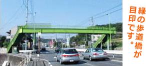 緑の歩道橋が目印です。